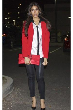 New York & Company blazer - Arden B leggings - Steve Madden bag