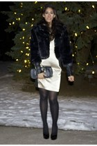 faux fur coat baby phat coat - black and gold The Limited dress - DKNY tights