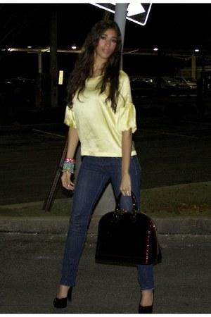 Louis Vuitton bag - skinny jeans Epic jeans - yellow silk Victorias Secret top