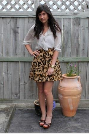 Topshop blouse - leopard print Lover skirt - Miu Miu heels