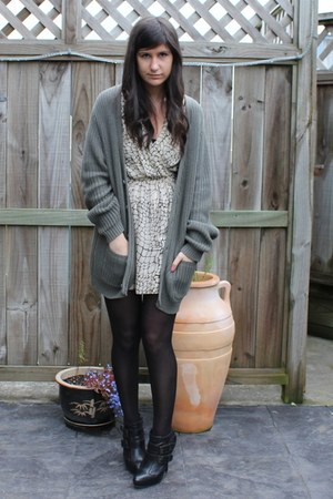 Topshop boots - Karen Walker dress - Cheap Monday cardigan