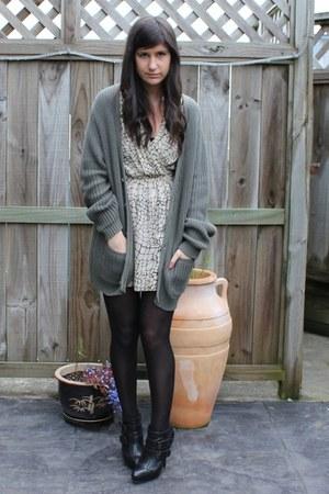 Topshop boots - Karen Walker dress - Cheap Monday cardigan