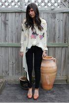acne blouse - BDG jeans - Miu Miu shoes