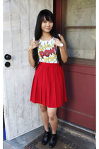 ankle boots shoes - crop top papaya shirt - skirt - Urban Outfitters bracelet