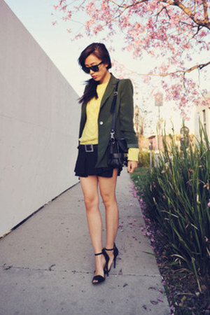 Zara sandals - light yellow knit neon Zara sweater - vintage blazer