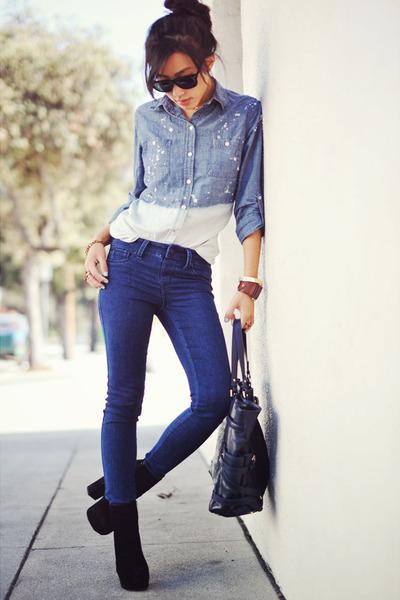 H&M bracelet - Dolce Vita boots - navy sold design lab jeans