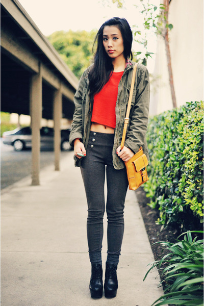 parka Old Navy jacket - red cropped H&amp;M sweater - Nine West bag - high-waisted F