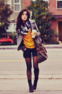 lace-up Forever 21 boots - Old Navy coat - oversized vintage sweater