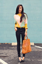 light yellow colorblock romwe sweater - Zara shoes - J Brand jeans