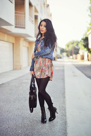 denim Old Navy jacket - black Dr Martens boots - sans souci dress