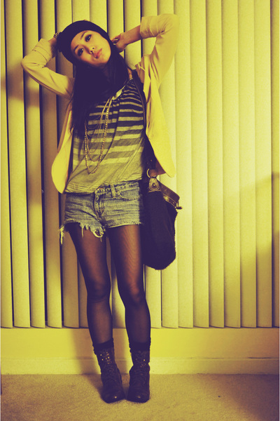 heather gray thrifted shirt - dark brown Forever 21 boots - peach H&M blazer