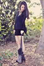black Forever 21 dress - dark gray sheer thrifted blouse
