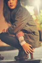 brown Joie boots - green parka Old Navy jacket