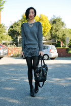 gold black Courtney Kaye necklace - 8020 shoes - charcoal gray romwe sweater