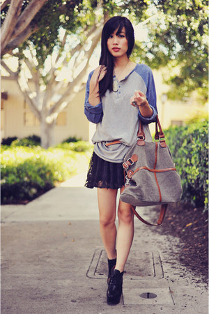 lace vintage dress - leather-trimmed vintage bag - heather gray baseball Forever