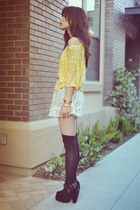 light yellow polka-dotted H&M t-shirt - black Ebay boots