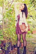 black laced-up Forever 21 boots - maroon Petticoat Alley dress