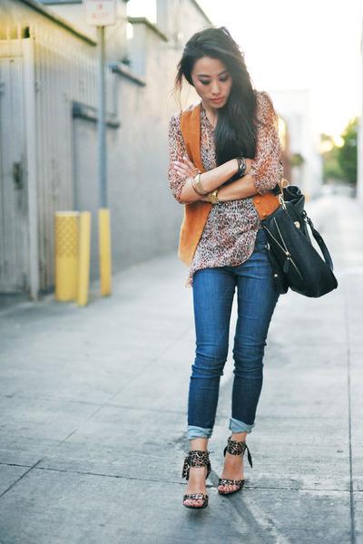 suede brown vintage vest - blue kasil jeans - melie bianco bag - vintage blouse