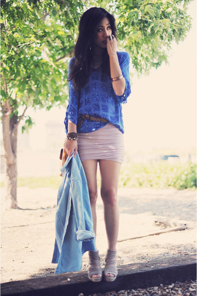 blue beaded sheer Joie blouse - wrapped Lush dress - denim vintage jacket