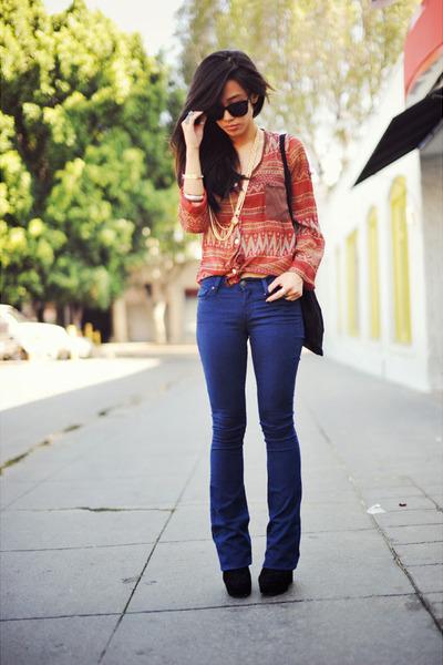 blue Gap jeans - black suede Dolce Vita boots - chiffon Pink Bullet blouse