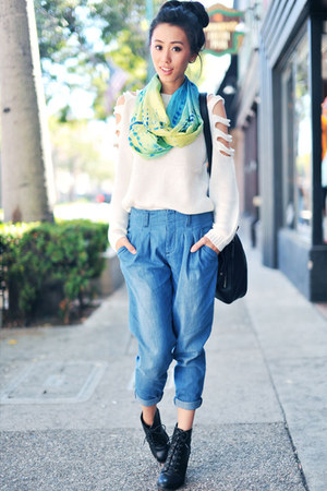 knit cut-out causeway mall sweater - Forever 21 boots - DENJ scarf