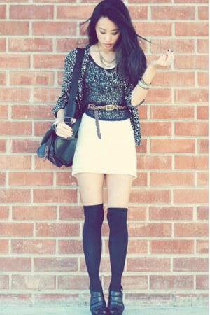silk thrifted Allison Taylor shirt - ruched lace Forever 21 dress - Esprit bag