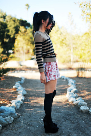 light pink Kimchi Blue dress - brown striped Forever 21 sweater
