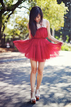 red tulle Chicwish dress - Jeffrey Campbell shoes