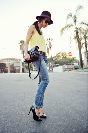 light yellow H&amp;M top - Kasil Workshop jeans - braided black Jessica Simpson hat