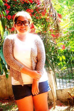 brown cardigan - white top - blue shorts