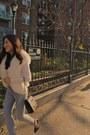 Dana-buchman-sweater-chanel-purse-jimmy-choo-pumps