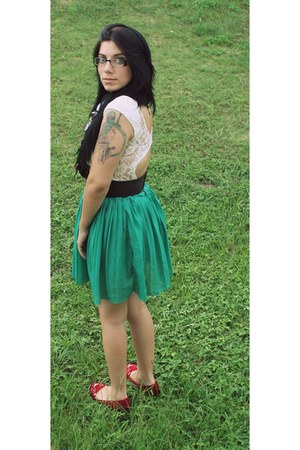 green skirt - brown and white scarf - blouse - belt - flats