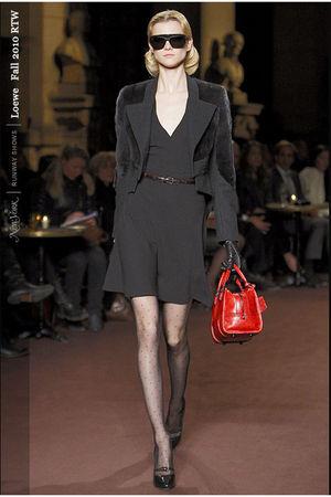 black loewe dress - black loewe jacket - black loewe stockings - black loewe sho
