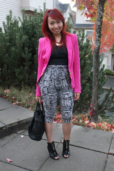 printed Forever 21 pants - Givenchy boots - Forever 21 blazer