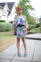 heels Aldo shoes - floral kimono H&M blazer - stripes abercrombie and fitch top