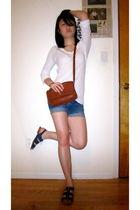 blue American Eagle shorts - blue richard chai shoes - white C&C California shir