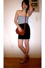 Black-h-m-skirt-silver-from-korea-t-shirt-white-manolo-blahnik-shoes-brown