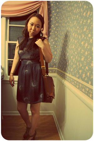chiffon Urban Outfitters dress - vj-stylescom bag - mustard color modcloth heels