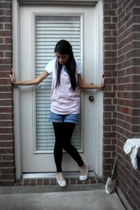 Urban Outfitters top - Old Navy t-shirt - shorts - Express tights - payless shoe