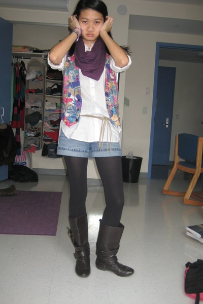 purple scarf - white shirt - blue vest - blue shorts - black tights - brown boot