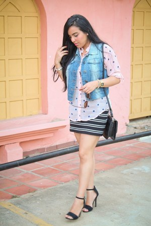 Forever21 skirt - Aishop bag - Tienda local sunglasses - Forever21 blouse