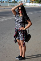 Vans shoes - Forever21 dress - Aishop bag - Bershka blouse