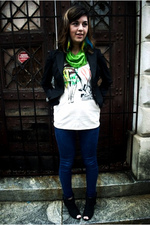 Young Monster shirt - merona blazer - pants - we who see boots - Owl Eyes access