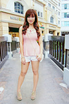 white lace Bayo shorts - light pink from Korea top
