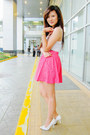 White-basic-tank-cotton-on-top-hot-pink-polka-dot-zara-skirt