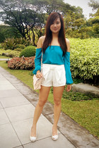 white bow front Kamiseta shorts - turquoise blue cold shoulder apartment 8 top