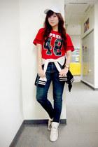 black varsity Aeropostale jacket - navy skinny Zara jeans