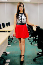 white geometric print Plains & Prints top - red sailor Zara skirt