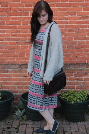 aztec midi OASAP dress - navy TOMS shoes - silver Topshop cardigan