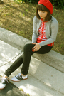 Red-target-hat-gray-forever21-cardigan-black-bullhead-jeans-white-payless-